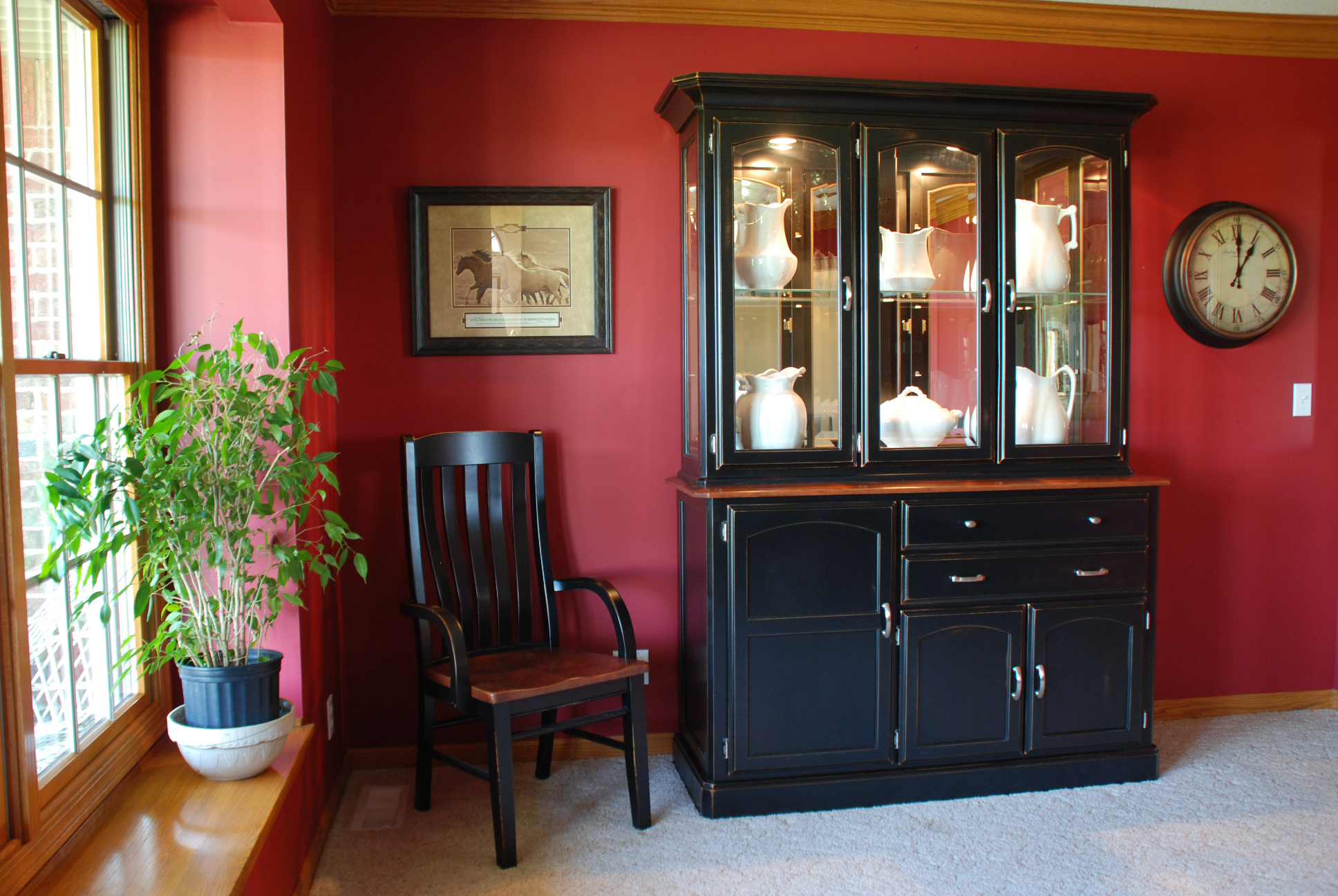 Transitional Newport Hutch and Base in Two-Tone Cherry