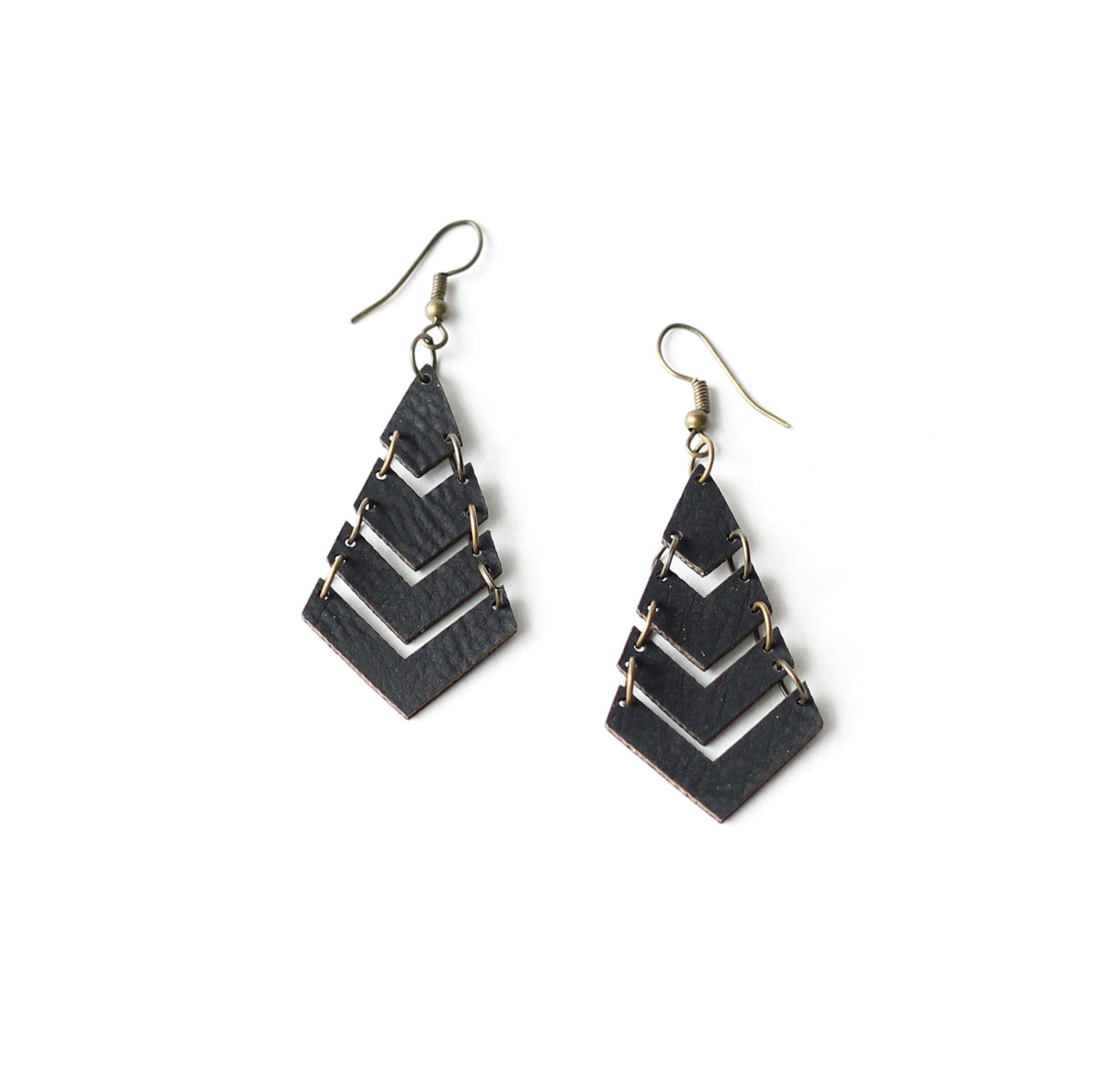 85fdeae1683e93 Leather Earrings | Linked Chevrons | JK Creative Wood
